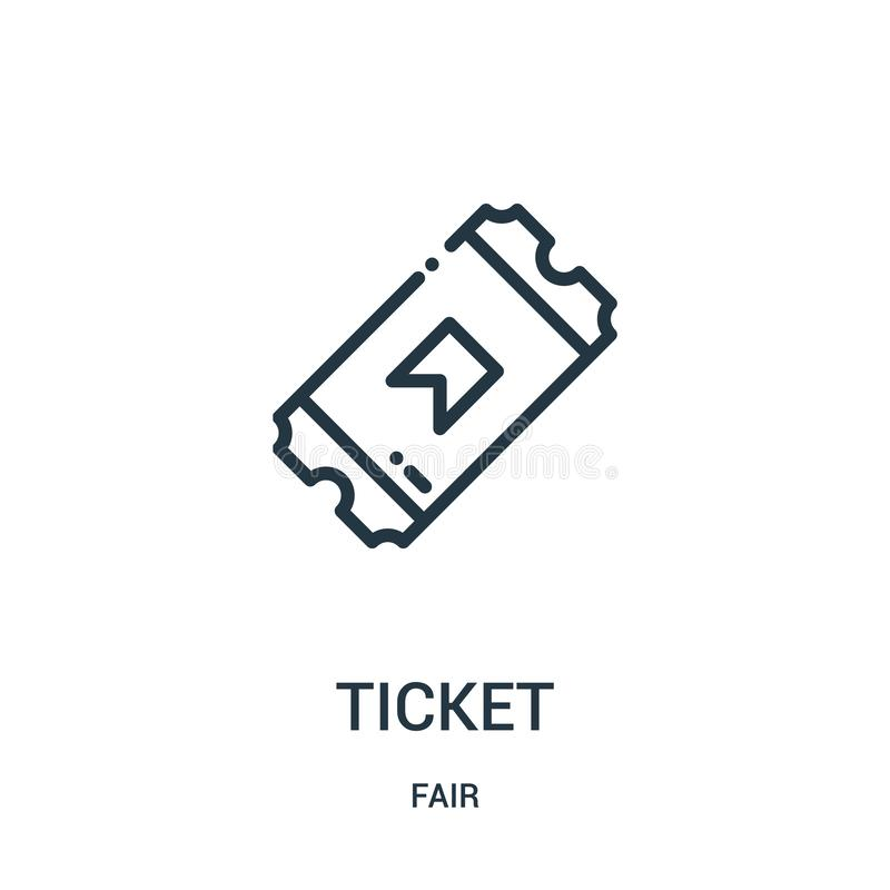 Ticket icon vector from fair collection. Thin line ticket outline icon vector illustration. Linear symbol for use on web and. Mobile apps, logo, print media royalty free illustration