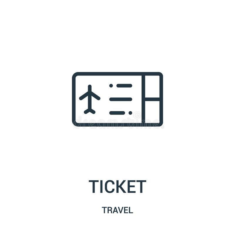 ticket icon vector from travel collection. Thin line ticket outline icon vector illustration. Linear symbol for use on web and royalty free illustration
