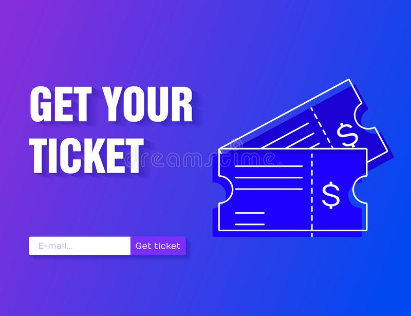 Ticket a ilustração do vetor do ícone no estilo liso isolada em um fundo moderno do inclinação Obtenha seu bilhete em linha ilustração do vetor