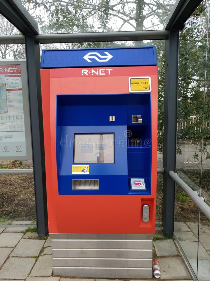 Ticket machine for R-Net rail transportation at railroad station Waddinxveen Noord stock photos