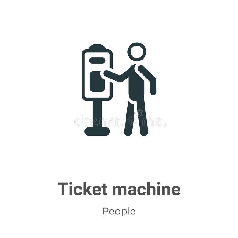 Ticket machine vector icon on white background. Flat vector ticket machine icon symbol sign from modern people collection for royalty free illustration