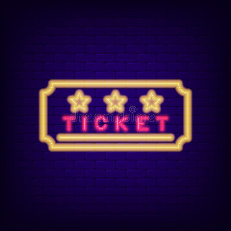 Ticket neon sign. Night light entrance coupon. Vector stock illustration