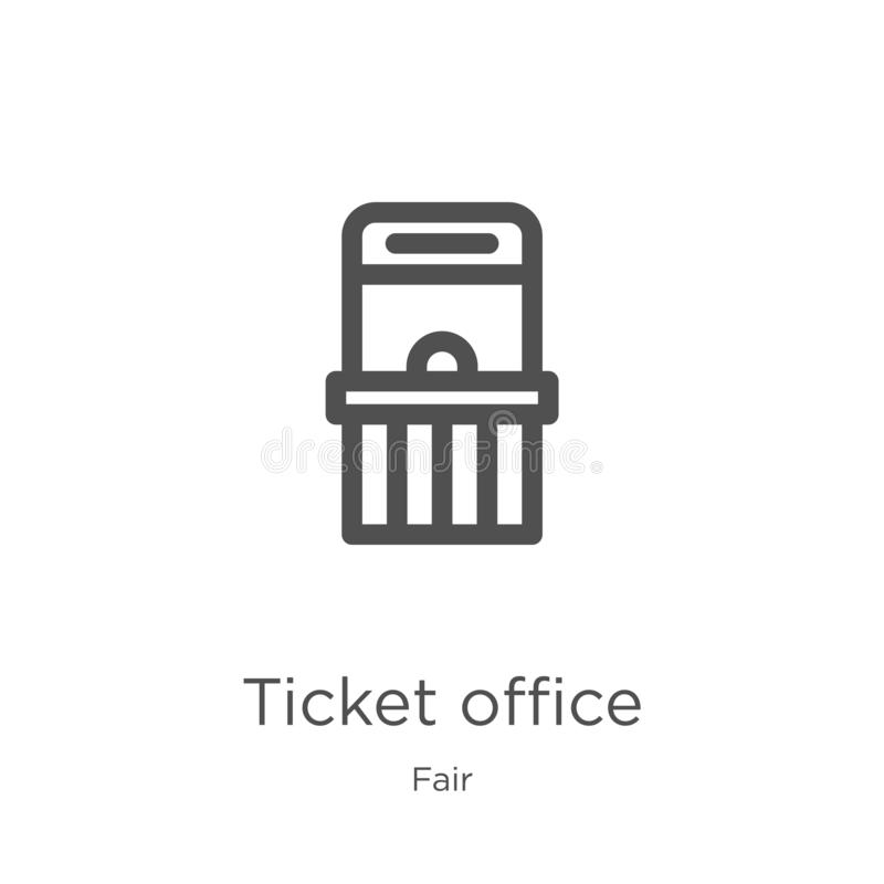 ticket office icon vector from fair collection. Thin line ticket office outline icon vector illustration. Outline, thin line royalty free illustration