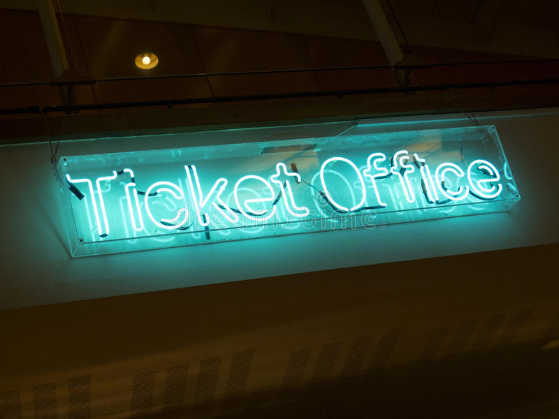 Ticket office. View of a neon sign of a ticket office stock photo
