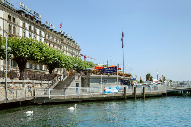 The ticket point at Mont-Blanc quay on bank of Leman lake. GENEVA, SWITZERLAND - JUL 11, 2015: The ticket point at Mont-Blanc quay on bank of Leman lake in stock photo