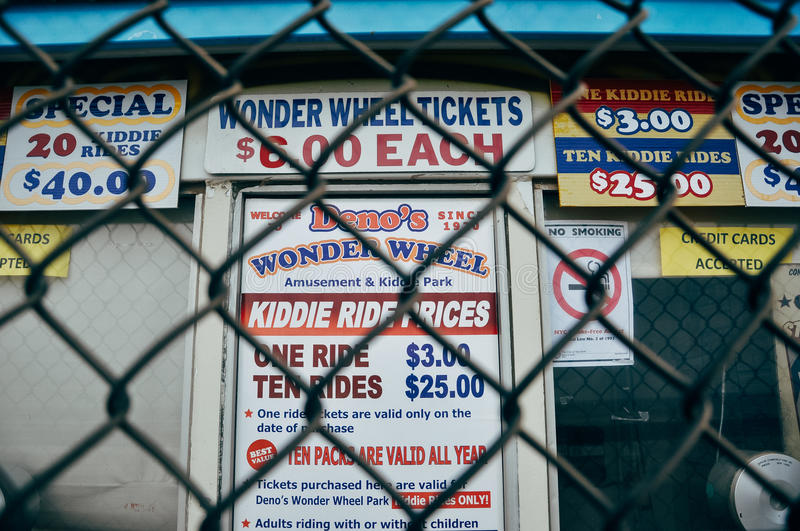 Ticket price signs in Coney Island. Ticket price signs in Coney Island, USA stock photo