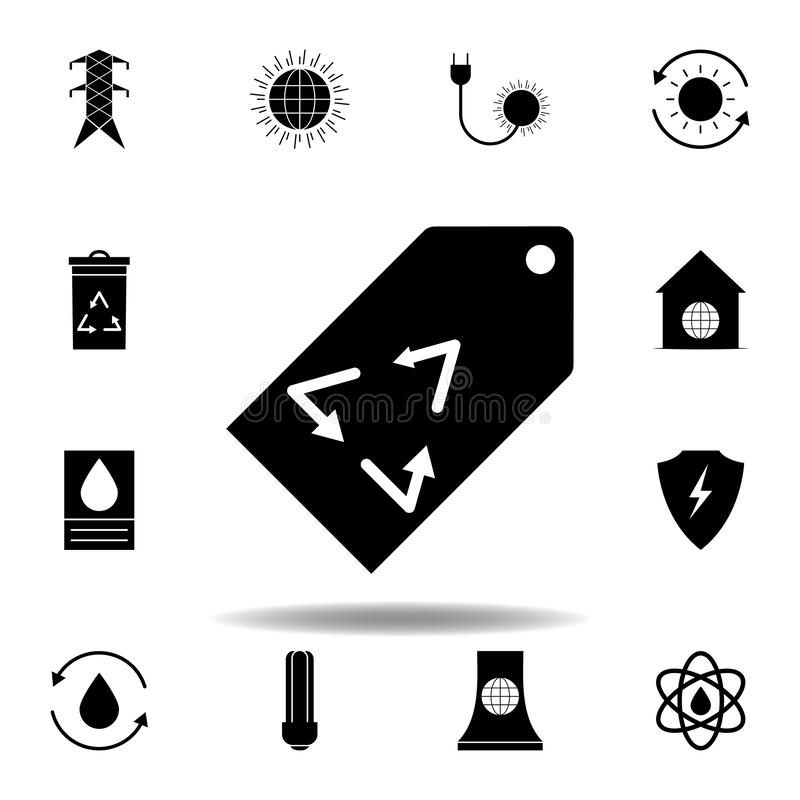 ticket, recycle sign, arrow icon . Set of alternative energy illustrations icons. Can be used for web, logo, mobile app, UI, UX royalty free illustration