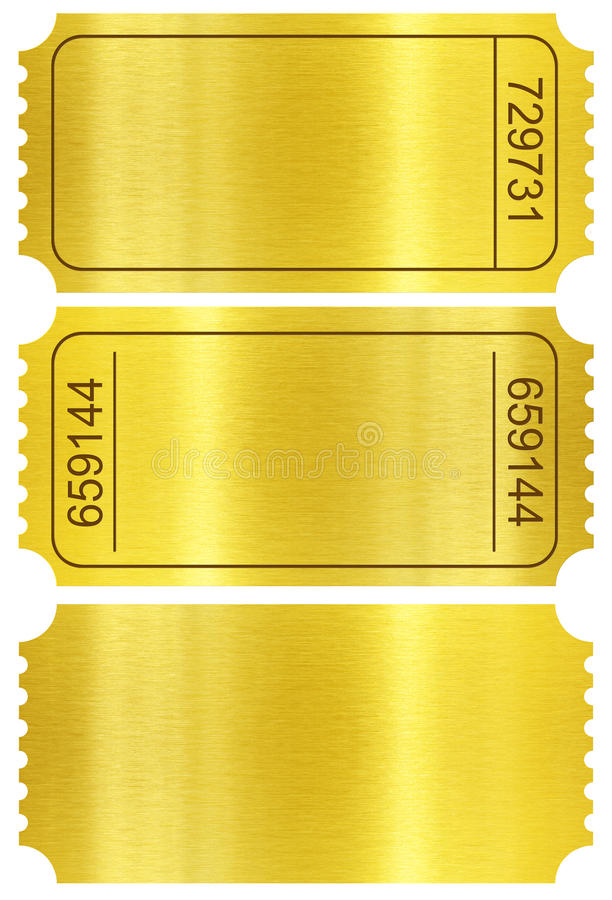 Free Ticket Set. Golden Ticket Stubs Isolated On White Royalty Free Stock Images - 34535999