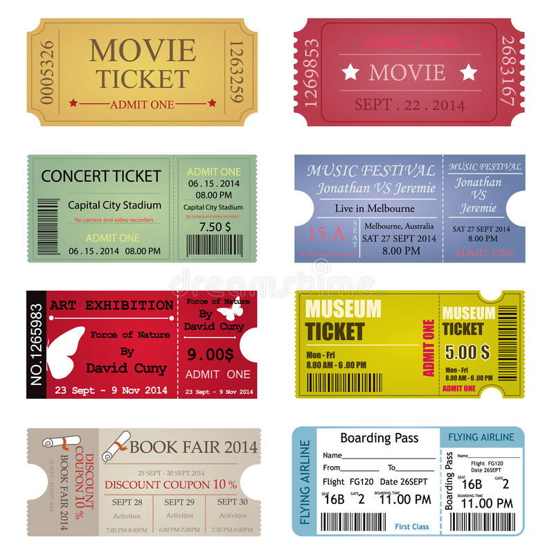 Download Ticket Template Designs Stock Vector. Illustration Of Paper    46086041  Concert Tickets Template