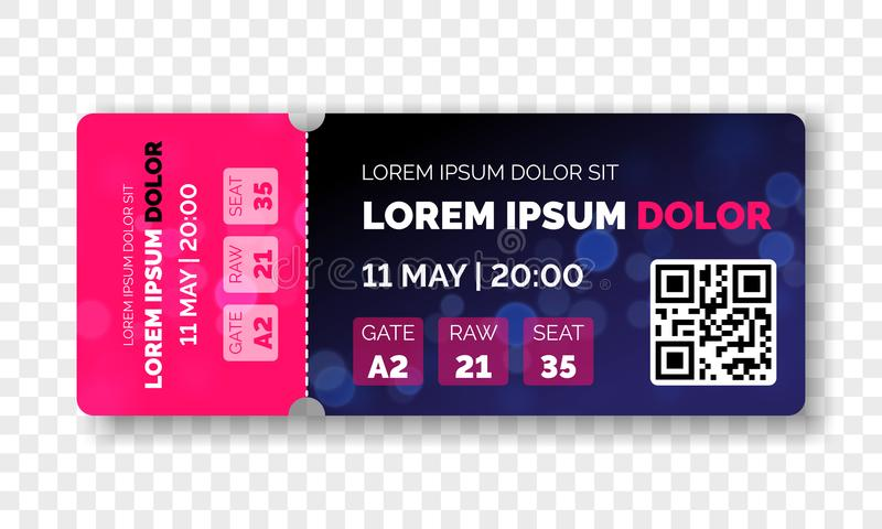 Ticket template modern trendy design. Vector admit ticket with event date and raw seat for cinema movie, live music concert or fes royalty free illustration