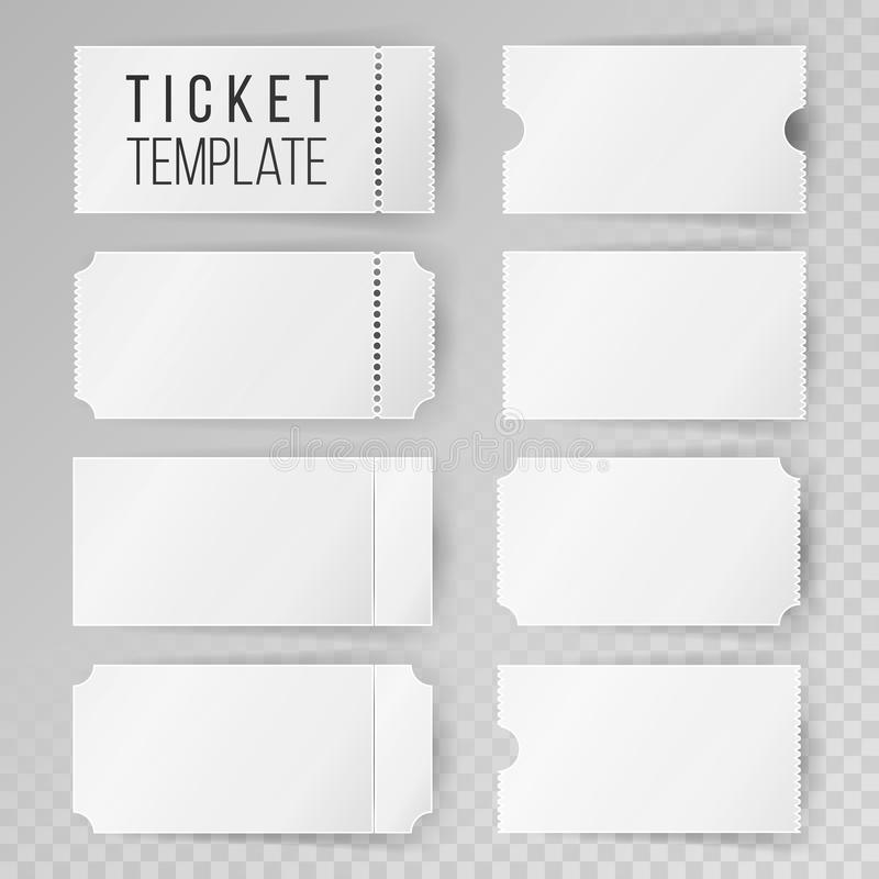 Ticket Template Set Vector. Modern Mock Up Wedding, Cinema, Birthday ...