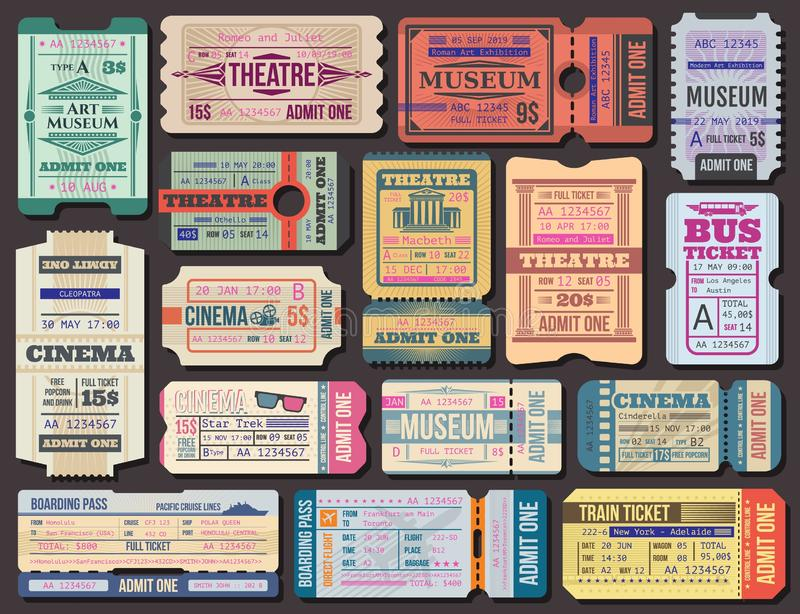 Ticket to movies, theatre or museum, boarding pass vector illustration
