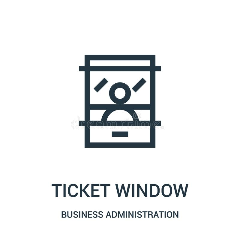 ticket window icon vector from business administration collection. Thin line ticket window outline icon vector illustration vector illustration