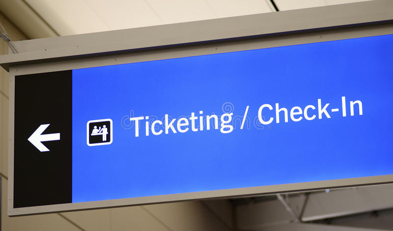 Download Ticketing, Check-in, And Passenger Pick-up Sign Stock Photo - Image: 36353288