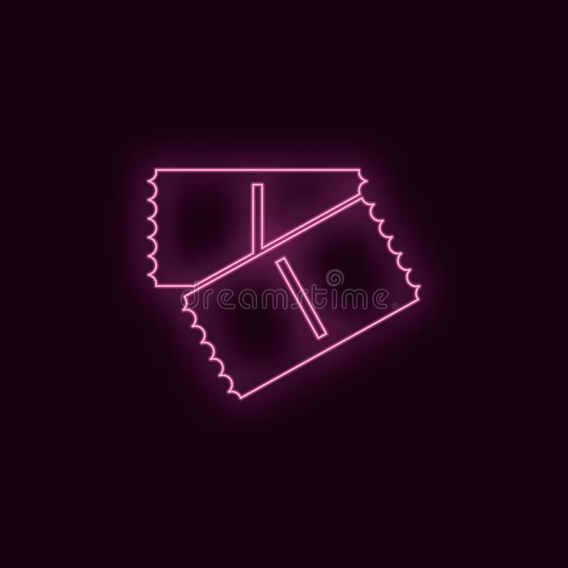 Tickets, neon, icon. Theater ruby color neon ui ux icon. Theater sign logo vector - Vector royalty free illustration