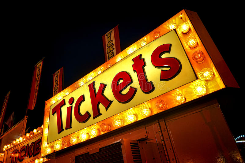 Tickets Neon Light Sign Marquee at Counter Booth stock photography