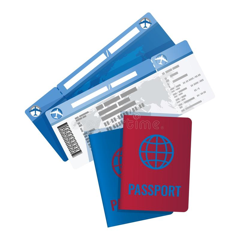 Tickets and passport for travelling abroad vector illustration stock illustration