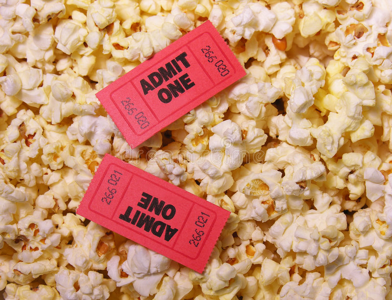 Tickets and Popcorn stock photography