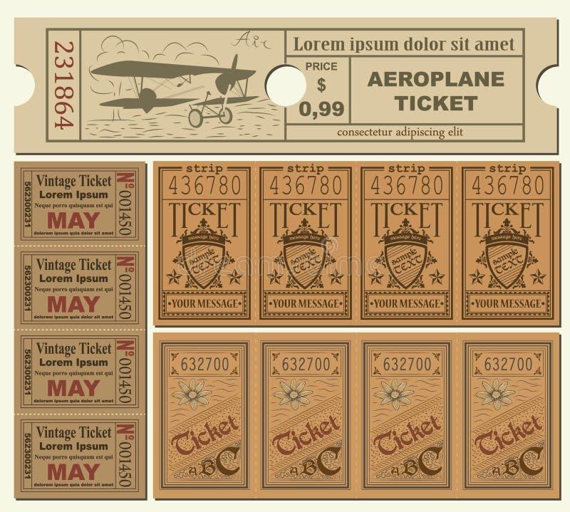 tickets tappning stock illustrationer