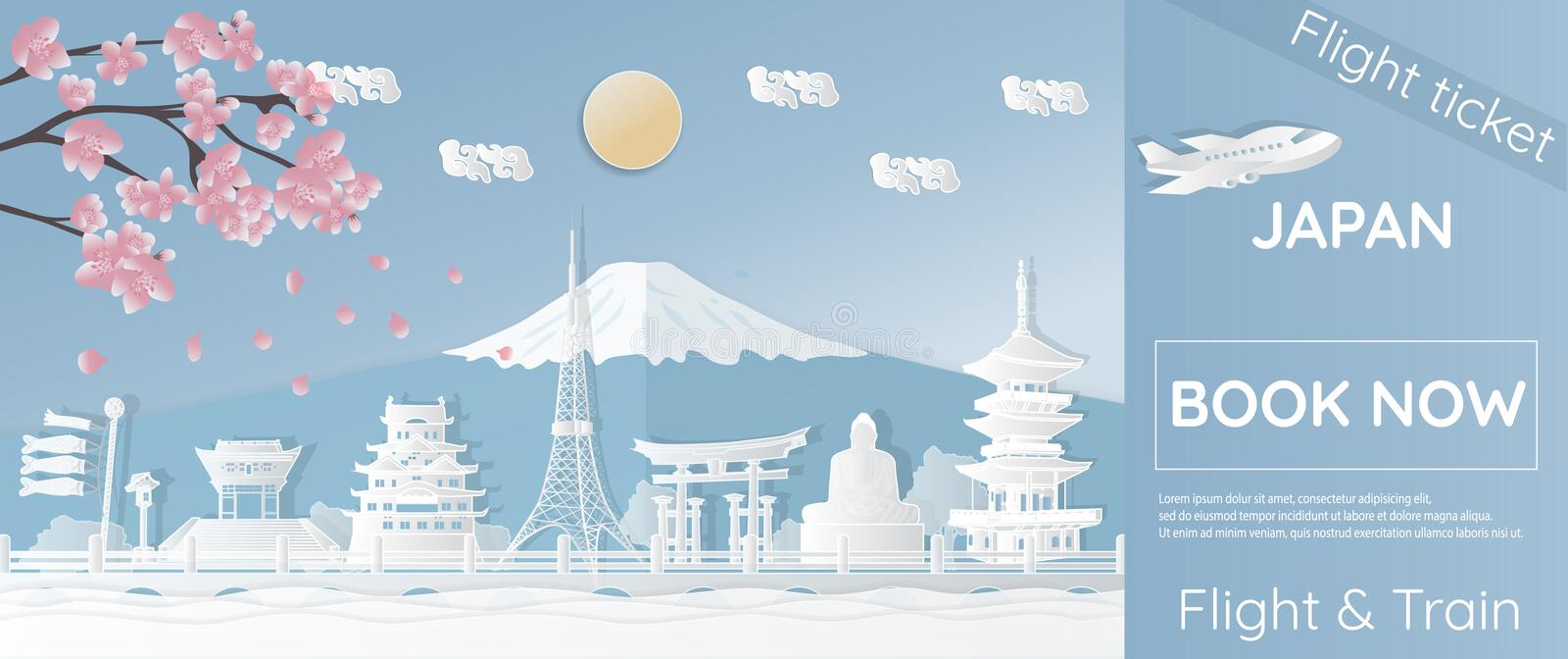 Tickets for traveling to Japan, famous places in Japan, advertising templates, plane tickets in paper-cut styles - vector illustra vector illustration