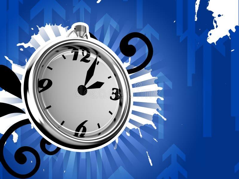 Ticking Clock Ice Version 3D Render stock illustration