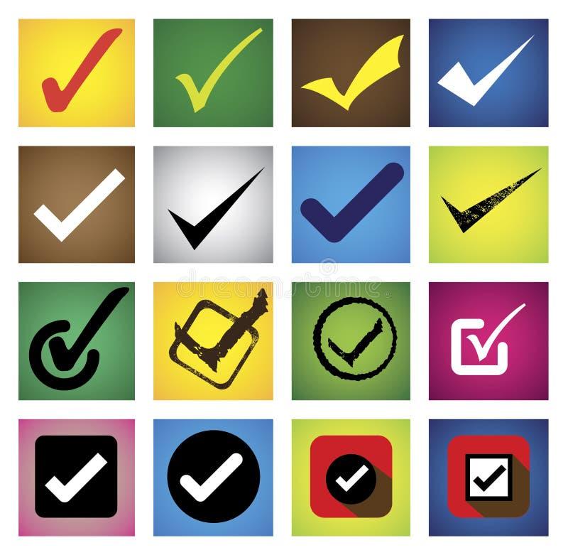 Tickmark, trait de repère, bonne marque, choix correct - dirigez les icônes s illustration libre de droits