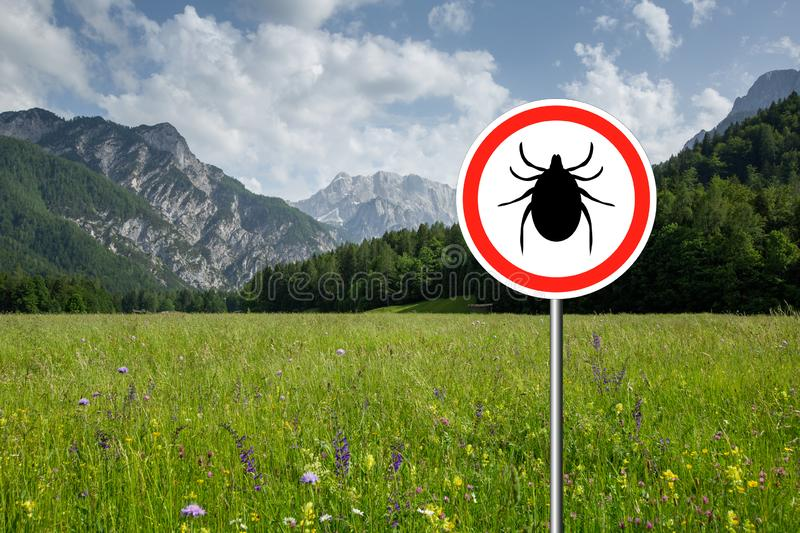 Ticks sign in the wild green meadow. Tick insect warning sign on infected meadow. Lyme disease and meningitis transmitter royalty free stock image