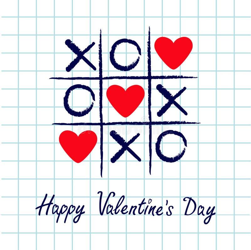 Tictac het teenspel met crisskruis en rood hart drie ondertekenen teken XOXO Hand getrokken blauwe penborstel Krabbellijn Gelukki vector illustratie