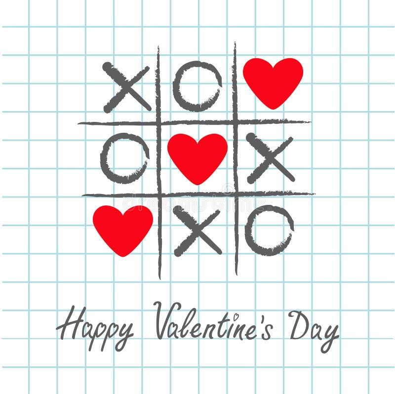 Tictac het teenspel met crisskruis en rood hart drie ondertekenen teken XOXO Hand getrokken penborstel Krabbellijn De gelukkige k royalty-vrije illustratie