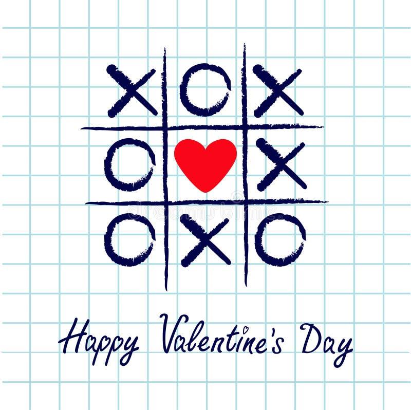 Tictac teenspel met het tekenteken XOXO van het criss dwars en rood hart Hand getrokken blauwe penborstel Krabbellijn De gelukkig vector illustratie