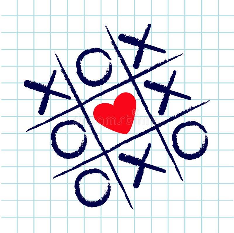 Tictac teenspel met het tekenteken XOXO van het criss dwars en rood hart Hand getrokken blauwe penborstel Krabbellijn Het Vlakke  stock illustratie