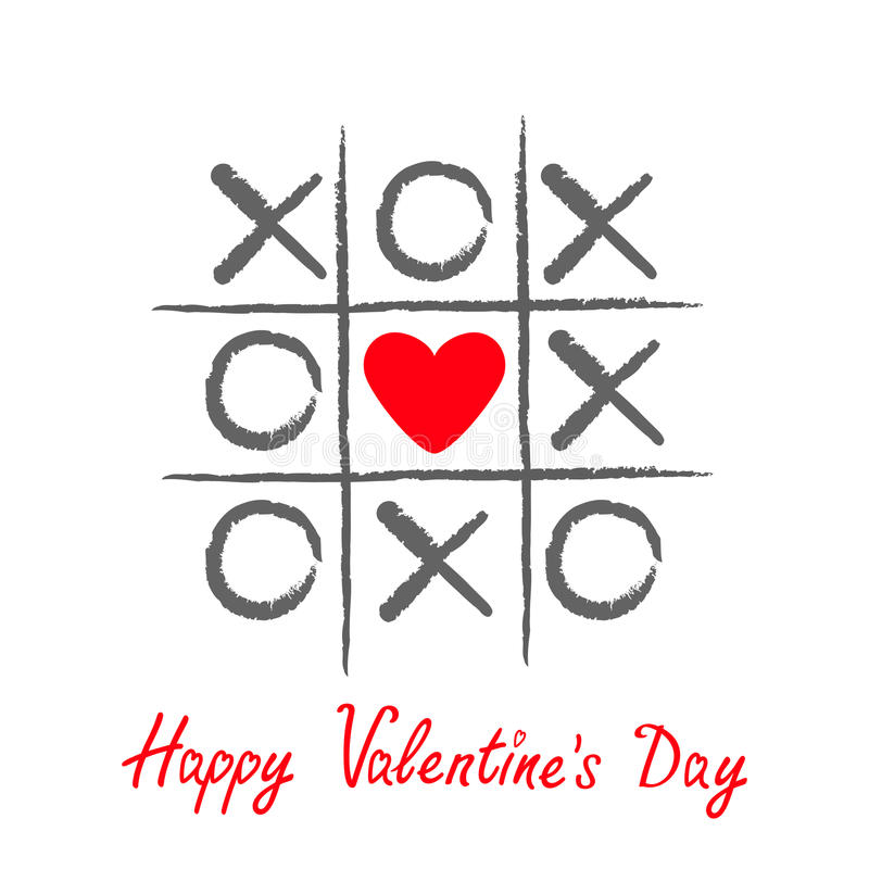Tictac teenspel met het tekenteken XOXO van het criss dwars en rood hart Hand getrokken borstel royalty-vrije illustratie