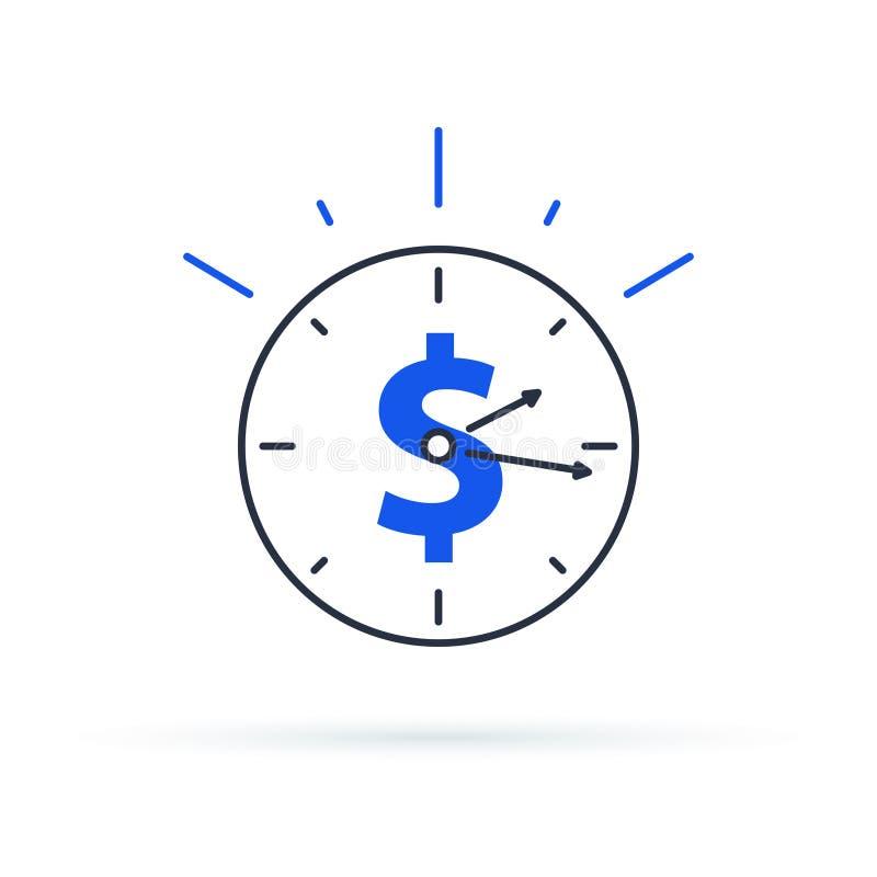 Tid är den pengarbegreppet, klockan och myntet för långsiktig finansiell investering Pensioneringbesparingar, framtida inkomst vektor illustrationer