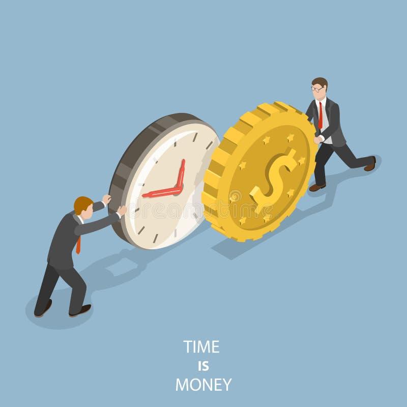 Tid är det plana isometriska vektorbegreppet för pengar stock illustrationer