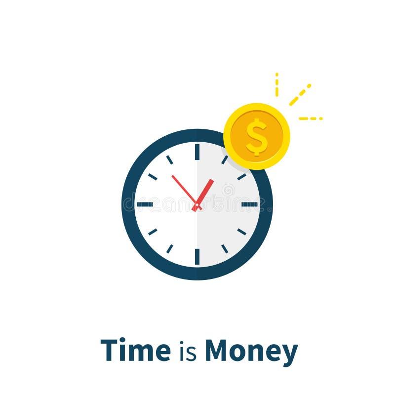 Tid är pengar, den långsiktiga investeringen, den finansiella planläggningen, finansstrategi, betalningstopptiden, tidledning pla royaltyfri illustrationer