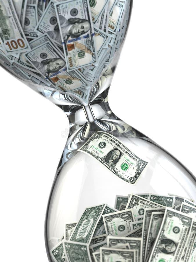 Tid är pengar. Inflation. Timglas och dollar. royaltyfri illustrationer