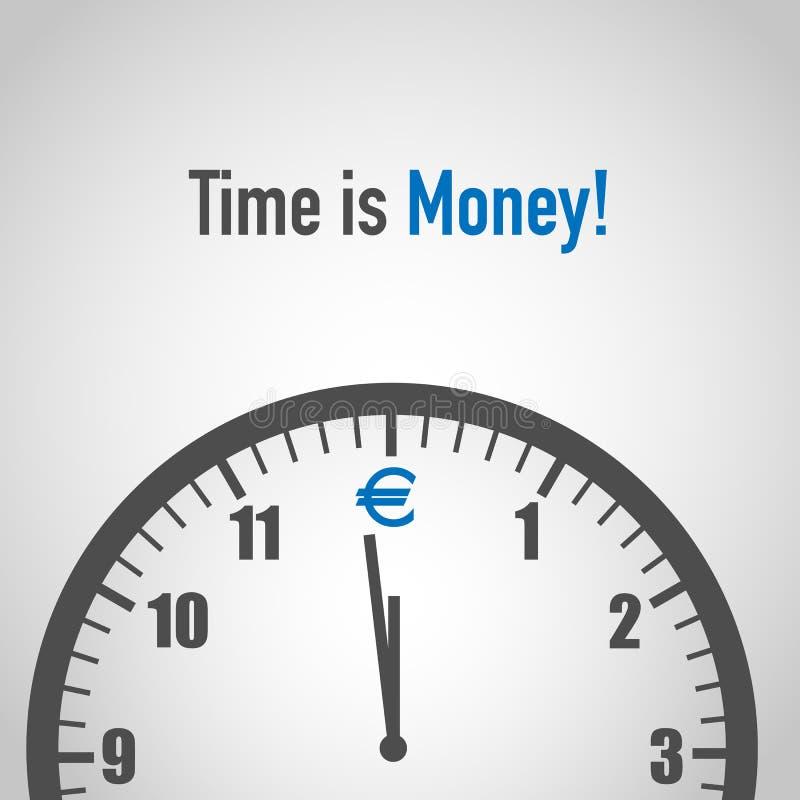 Tid är pengar med eurosymbolen stock illustrationer