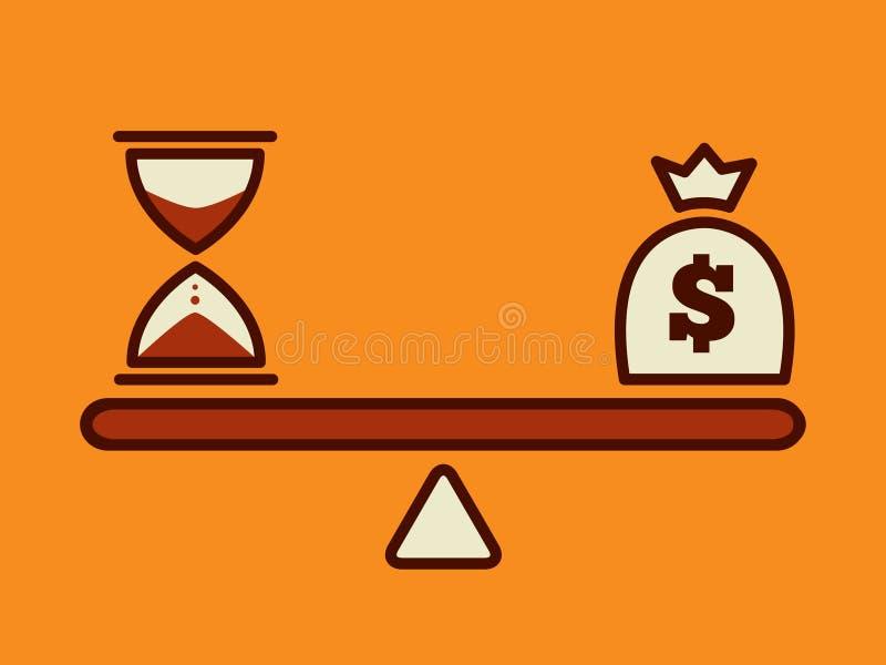 Tid är pengar, pengarbegrepp royaltyfri illustrationer