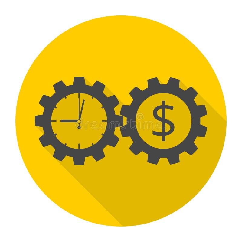 Tid är pengar, symbol för affärskugghjulbegrepp med lång skugga stock illustrationer