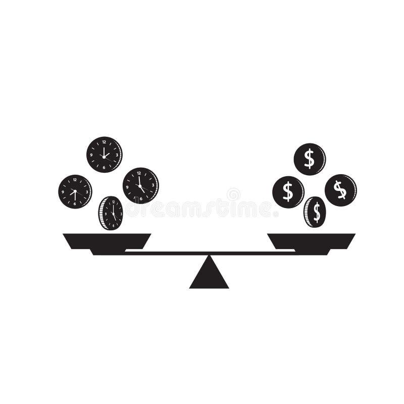 Tid är pengarbegreppet Bunkevåg Dollarpengartecken Klockavisartavla stock illustrationer