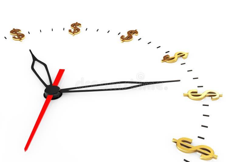 Tid är pengarbegreppet Klocka med dollartecken royaltyfri bild