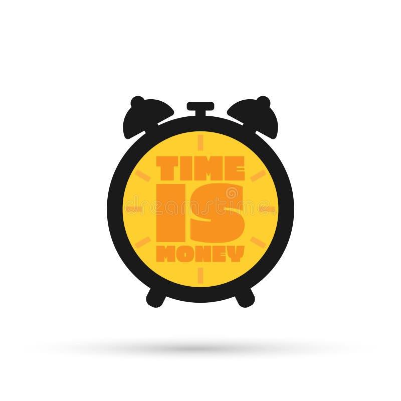 Tid är pengarbegreppet, klockan och myntet, den långsiktiga finansiella investeringen, pensioneringbesparingar, framtida inkomst, stock illustrationer