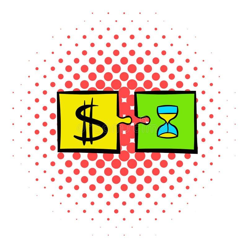 Tid är pengarpusselsymbolen, komiker utformar royaltyfri illustrationer