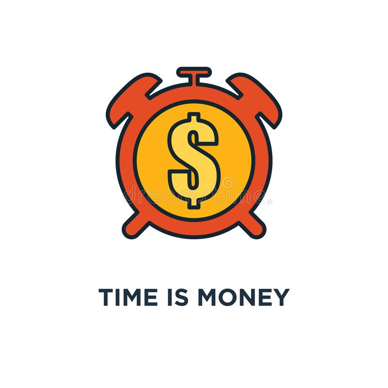 Tid är pengarsymbolen klocka och mynt, pengarvinst och design för fördelbegreppssymbol, långsiktig finansiell investering, pensio vektor illustrationer