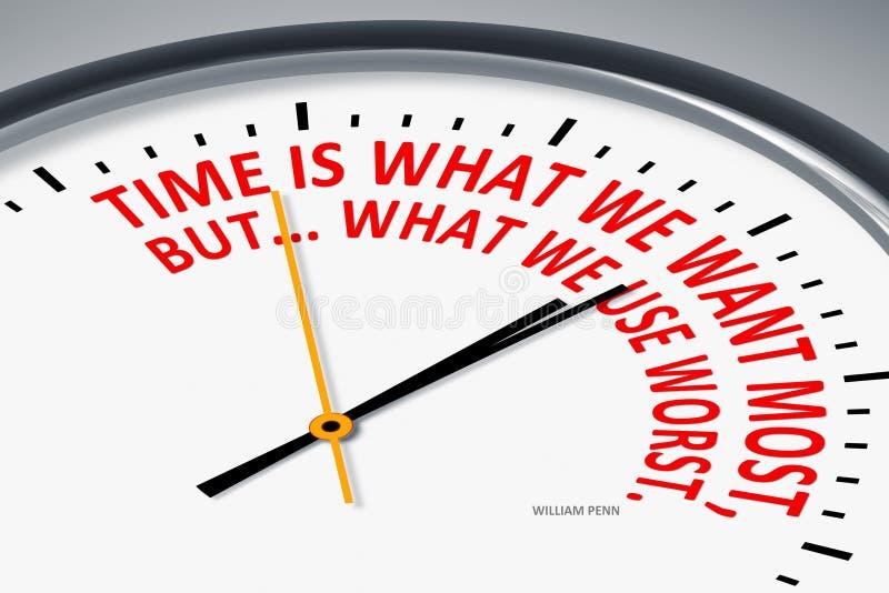 Tid är vad vi önskar mest, men vad vi använder mest ond vektor illustrationer