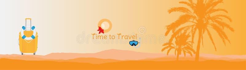 tid att löpa Baner med konturer av tropiska palmträd och plastpåsen på en orange bakgrund för turism vektor illustrationer