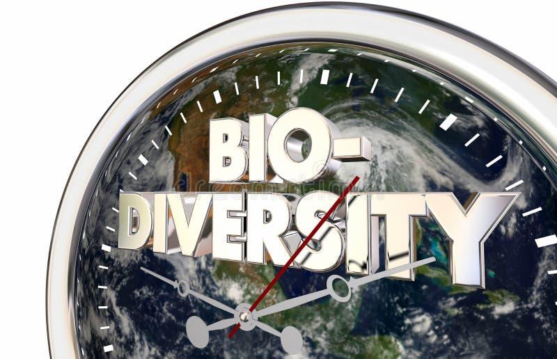 Tid för klocka för jord för biologisk mångfaldvärldsplanet 3d illustration vektor illustrationer