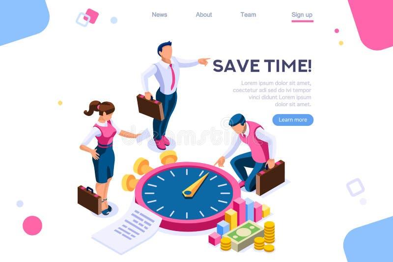 Tid för pengarkontrollekonomi konsulterande begrepp stock illustrationer