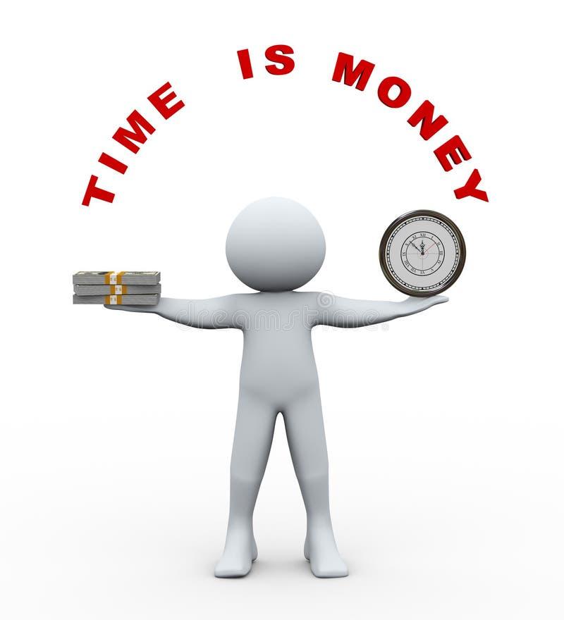 tid för personen 3d är pengar stock illustrationer