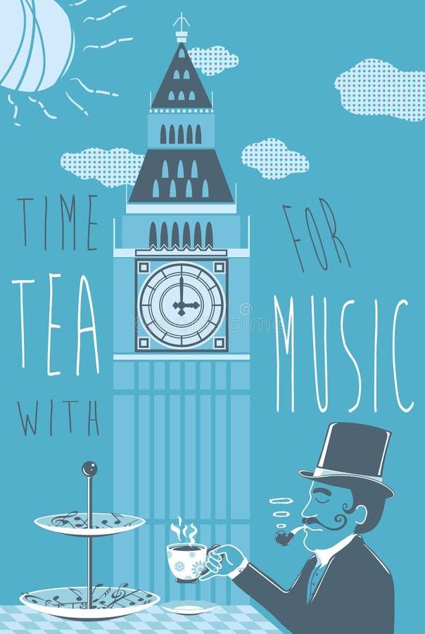 tid för tea för klockalivstid fortfarande arkivfoto